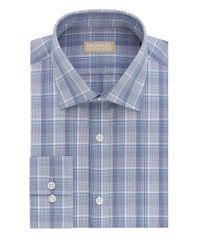 MICHAEL Michael Kors | Blue Regular-fit Plaid Cotton Dress Shirt for Men | Lyst