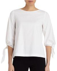 Lafayette 148 New York | White Elaine Tie-sleeve Stretch-cotton Blouse | Lyst