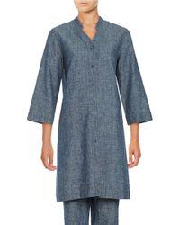 Eileen Fisher | Blue V-neck Hemp And Organic Cotton Tunic | Lyst