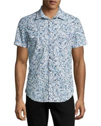 Calvin Klein Jeans | Blue Patterned Cotton Sportshirt for Men | Lyst