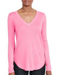 Lauren by Ralph Lauren | Pink V-neck Long-sleeve Tee | Lyst