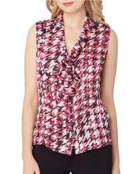 Tahari   Red Tie-neck Sleeveless Houndstooth Print Satin Blouse   Lyst