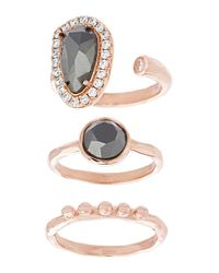 Lord & Taylor | Metallic Nes Jewelry Hematite, Crystal, 18k Rose Gold And Sterling Silver Oval, Round And Polished Triple Ring Set | Lyst