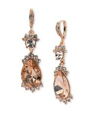 Givenchy | Metallic Crystal Drop Leverback Earrings | Lyst
