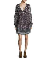 Free People | Black Cherry Blossom Embroidered Mini Dress | Lyst