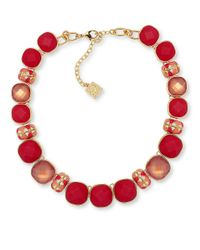 Anne Klein | Red Epoxy Stone Goldtone Collar Necklace | Lyst