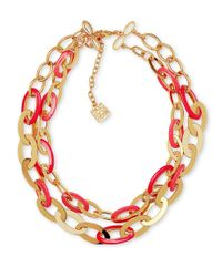 Anne Klein | Red Dual-tone Chain-link Necklace | Lyst