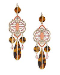 R.j. Graziano | Metallic Crystal And Tortoiseshell-style Drop Earrings | Lyst