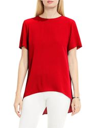Vince Camuto | Red Petite Jewelneck Short-sleeve High-low Blouse | Lyst