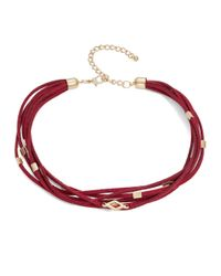 Lord & Taylor - Red Multi-row Corded Choker Necklace - Lyst