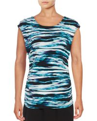 Calvin Klein | Blue Printed Ruched Top | Lyst