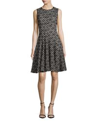 Calvin Klein | Black Geometric Fit-and-flare Dress | Lyst