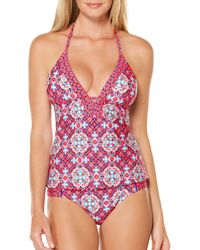 Laundry by Shelli Segal - Pink Plunge Halter Strap Tankini - Lyst