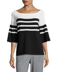 Calvin Klein | Black Striped Knit Sweater | Lyst