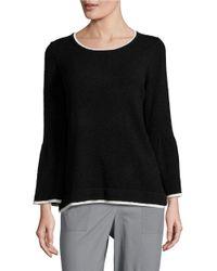 Calvin Klein | Black Textured Contrast Sweater | Lyst