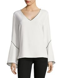 Calvin Klein | White Bell-sleeve Contrast Blouse | Lyst