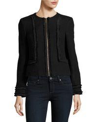 Karl Lagerfeld | Black Zip-front Tweed Jacket | Lyst
