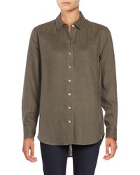Lord & Taylor | Green Linen Blouse | Lyst