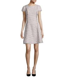 Eliza J | Gray Short Sleeve Fit And Flare Dress | Lyst