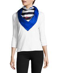 Lauren by Ralph Lauren | Blue Striped Silk Scarf | Lyst