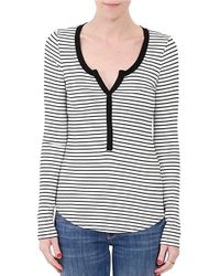 Three Dots | Black Striped Long Sleeved Tee | Lyst