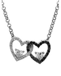Lord & Taylor - Metallic Diamond Silver Double Heart On Rolo Pendant Necklace - Lyst