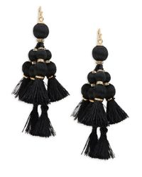 Kate Spade - Black Pretty Poms Tassel Statement Earrings - Lyst