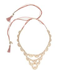Kensie - Metallic Lace? Tassel-accented Scalloped Bib Necklace - Lyst