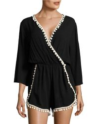 Lord & Taylor | Black Pompom Accented Romper | Lyst