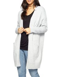 Miss Selfridge | Gray Slouchy Pocket Long Open Cardigan | Lyst