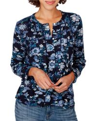 Lucky Brand | Blue Floral Printed Top | Lyst