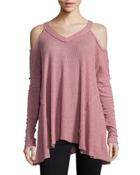 Lord & Taylor | Purple Knit Cold-shoulder Top | Lyst