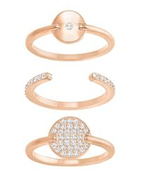 Swarovski | Metallic Ginger Crystal & 18k Rose Gold-plated Ring- Set Of 3 | Lyst