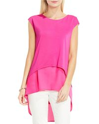 Vince Camuto | Pink Mixed Media Layered Blouse | Lyst