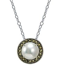 Lord & Taylor | Metallic 8mm White Pearl, Marcasite & Sterling Silver Halo Pendant Necklace | Lyst