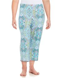 Ellen Tracy | Blue Cropped Pajama Pants | Lyst