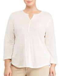 Lauren by Ralph Lauren   White Plus Whipstitched Linen Jersey Tunic   Lyst
