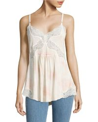 Free People | Natural Mama Jama Lace Slip Tank Top | Lyst