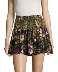 Free People | Black La Nights Floral Mini Skirt | Lyst