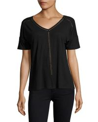 Lord & Taylor   Black Double V-neck Linen Tee   Lyst