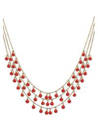 Anne Klein - Pink Coral Three-row Shaky Necklace - Lyst