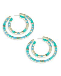 House of Harlow 1960 | Blue Double Nested Geometric Accented Hoop Earrings | Lyst