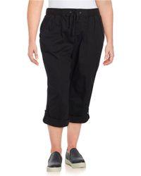Lord & Taylor | Black Plus Solid Cotton-blend Capri Pants | Lyst