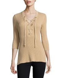 MICHAEL Michael Kors | Natural Petite Ribbed Lace-up Tunic Sweater | Lyst