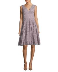 Vera Wang | Multicolor Solid Scalloped Lace Dress | Lyst