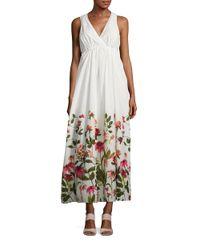 Calvin Klein | Multicolor Floral Print V-neck Maxi Dress | Lyst