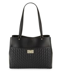 Karl Lagerfeld - Black Diamond Stitched Leather Tote - Lyst