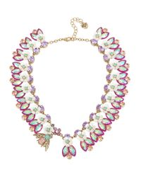 Betsey Johnson | Multicolor Buzz Off Bumble Bee Faceted Stone Flower Collar Necklace | Lyst