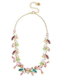 Betsey Johnson | Multicolor Flat Out Floral Mixed Stone Collar Necklace | Lyst