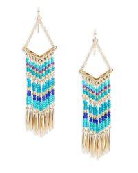 Lord & Taylor - Blue Beaded Chevron Drop Earrings - Lyst